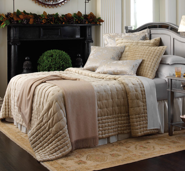Champagne-color-plush-velvet-quilt-bedding-bed-scandia-home